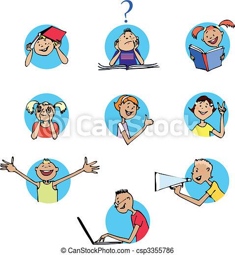 Schoolchildren icons - csp3355786
