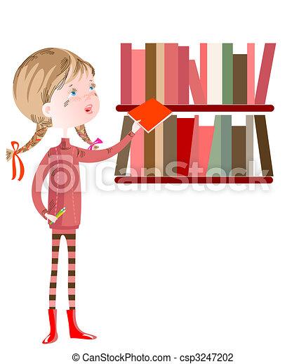 Schoolgirl in the library - csp3247202
