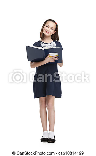 Schoolgirl likes to read - csp10814199