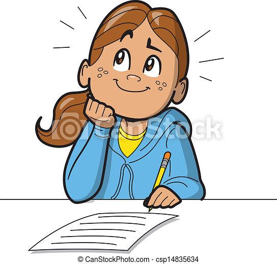 schoolgirl, test, boeiend - csp14835634