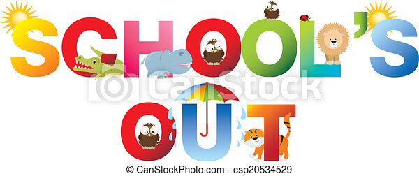 schools out word in childrens alphabet typeface schools out and no rh canstockphoto com school's out clip art school's out clip art border
