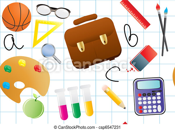 schoolwork vector illustration of educational objects on a rh canstockphoto com Work Day Clip Art school work clipart black and white