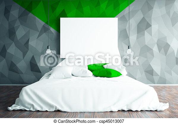 Schoonmaken, slaapkamer. Op, whiteboard., muur, concept., hotel ...