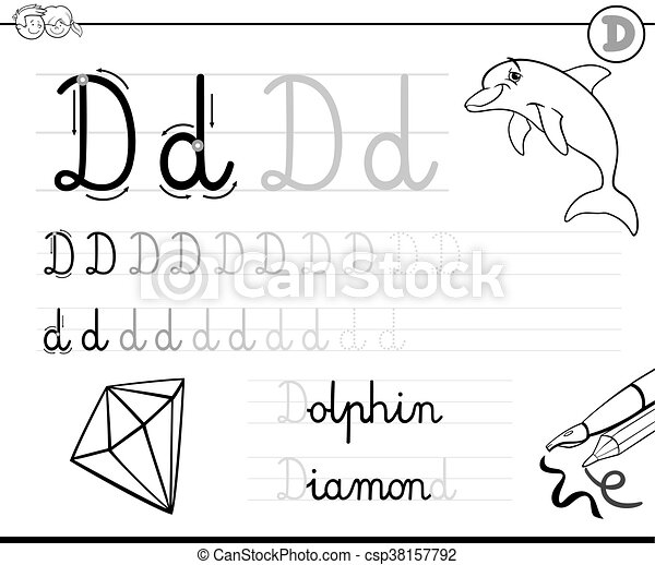 Schreiben, d, brief, lernen. Färbung, d, fähigkeiten, arbeitsblatt ...