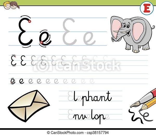 Schreiben, wie, e, brief. E, fähigkeiten, arbeitsblatt, abbildung ...