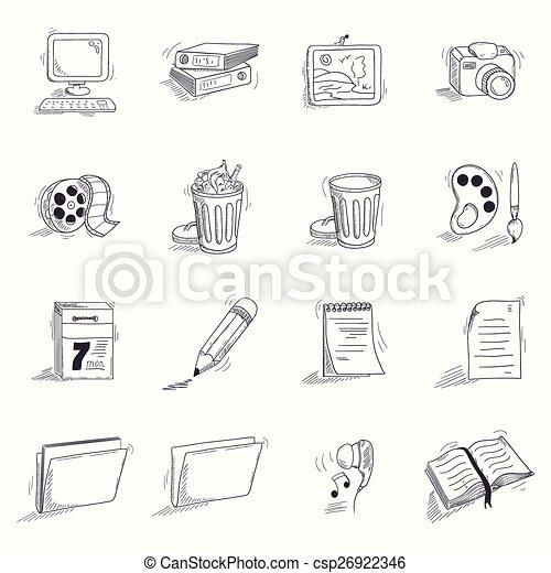Schreibtisch skizze  Schreibtisch, skizze, satz, stil, heiligenbilder. Skizze,... EPS ...
