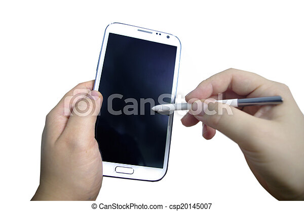 schrijfstift, telefoon, smart, hand - csp20145007