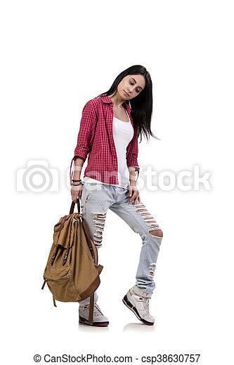 Weibliche Studentin mit Rucksack isoliert auf weiß - csp38630757