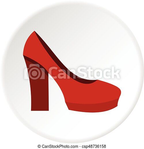Schuhe Hoch Rotes Kreis Absatz Ikone Flache Schuhe Web
