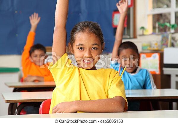 Schulkinder mit erhobenen Händen - csp5805153