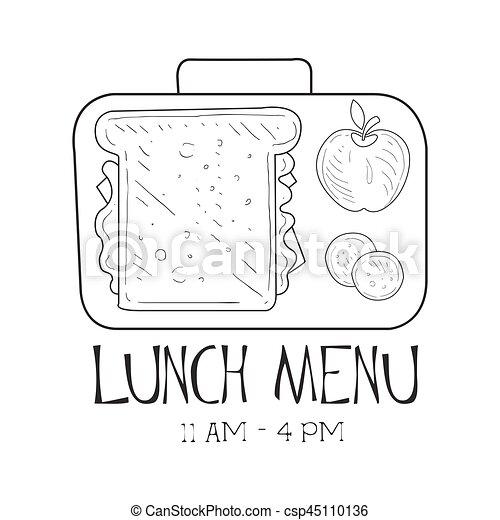 Schule, café, promo, menükarte, skizze, lunchbox, mittagstisch ...