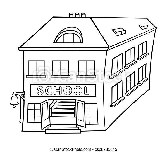 Schule clipart schwarz weiß  Schule, abbildung, -, vektor, schwarz, weißes, karikatur.