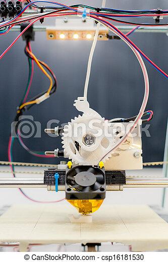 schule, drucker, arbeit, plastik, während, laboratorium, elektronisch, 3d - csp16181530