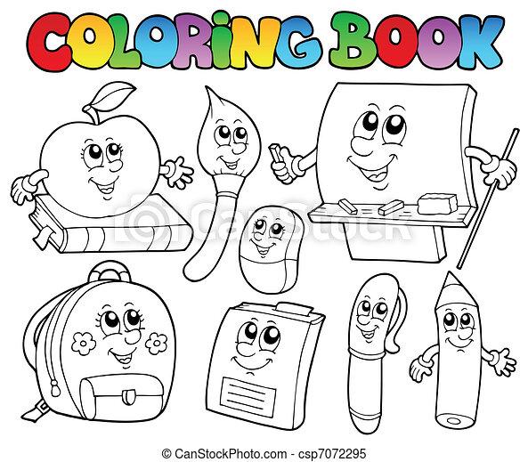 Schule, färbung, 5, buch, karikaturen. Schule, färbung,... Clipart ...