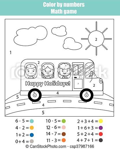 Schule, färbung, farbe, spiel, kinder, bus., zahlen, seite ...