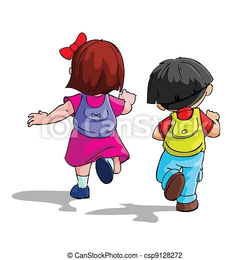 Kinder gehen zur Schule - csp9128272