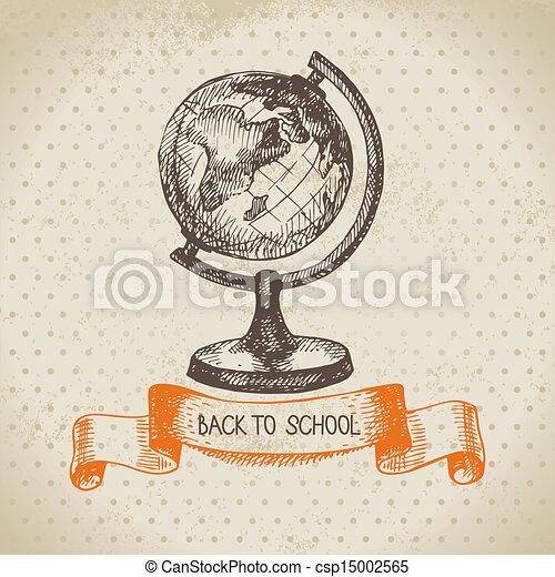 schule, weinlese, zurück, abbildung, hand, vektor, hintergrund, gezeichnet - csp15002565
