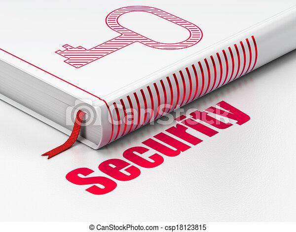 Schutzkonzept: Buchen Sie Schlüssel, Sicherheit auf weißem Hintergrund - csp18123815