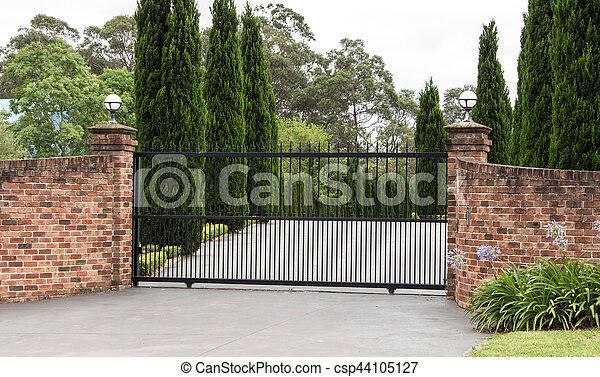 Schwarz Eingang Metall Zufahrt Tore Tore Eingang Satz Zaun