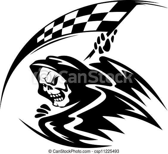 Schwarzer Todesdämon mit geknutschter Flagge - csp11225493