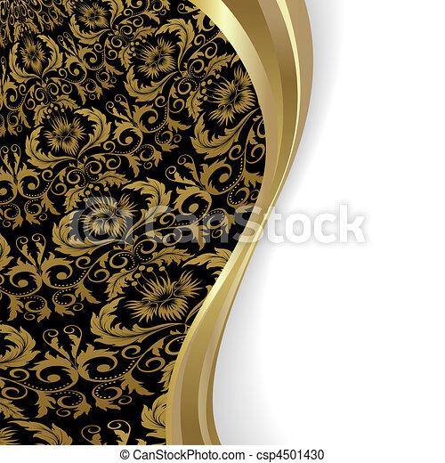 schwarz gold hintergrund ausschnitt gold bl tter maske schwarzer hintergrund blumen wave. Black Bedroom Furniture Sets. Home Design Ideas