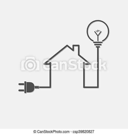 Einfache haus symbol abbildung elektrizität stromkreis ...