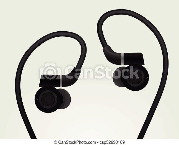 Schwarz, kopfhörer. Earphones., vektor, schwarz, abbildung Clipart ...