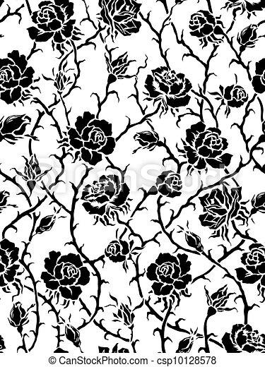 schwarz, roses., seamless, muster - csp10128578