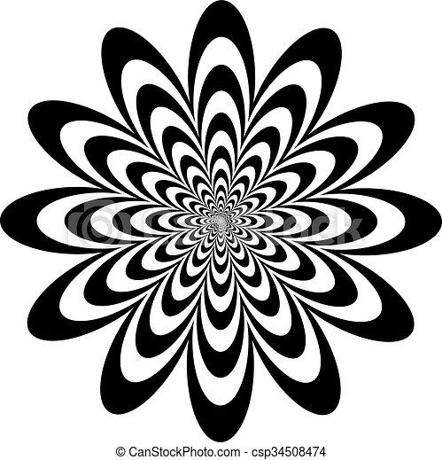 Schwarz, weiße blume, kunst, op. Optisch, design, white ...