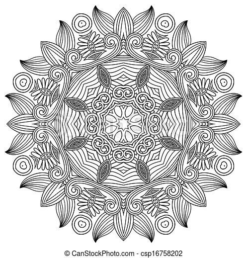 Schwarz, weiße blume, verzierung, kreis. Dekorativ, blume,... Vektor ...