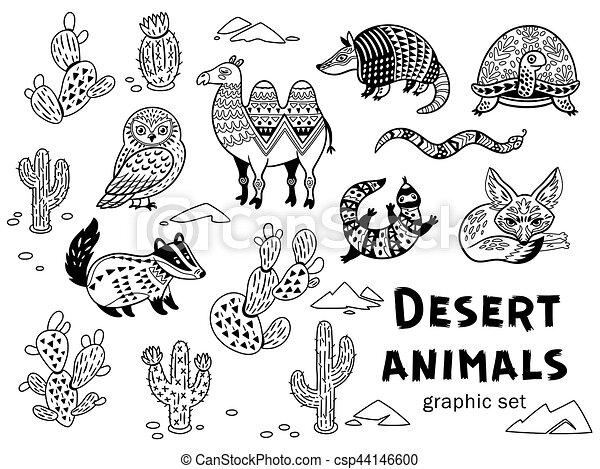 Schwarz, weißes, satz, tiere, wüste. Dekorativ, stil, färbung, tiere ...