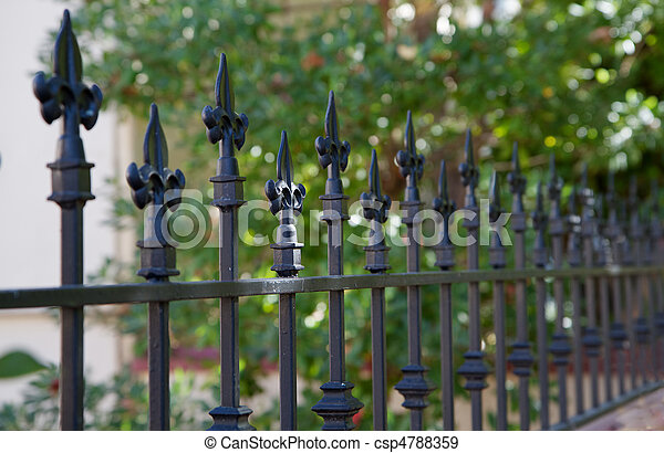 Schwarz Zaun Spitze Entfernung Zaun Metall Verringern Fokus