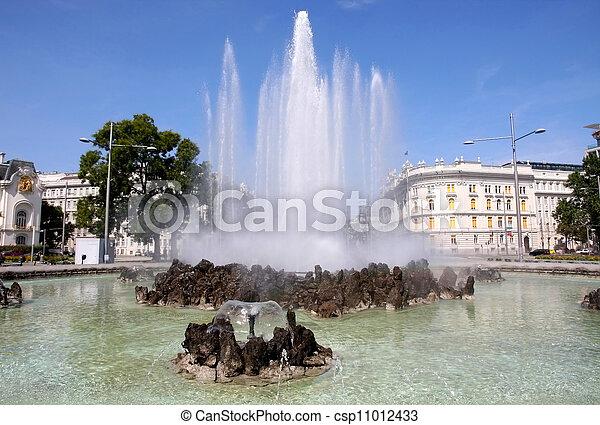 Fountain In Schwarzenbergplatz Vienna Austria