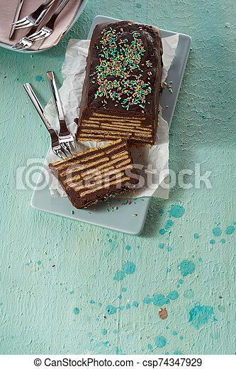 Schwarzer Hund uncooked chocolate biscuit cake - csp74347929