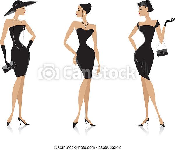 Schwarzes Kleid - csp9085242