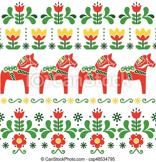 Schwedische traditionelle muster  Schwedische , pferd, dala, seamless, muster, skandinavisch,... EPS ...