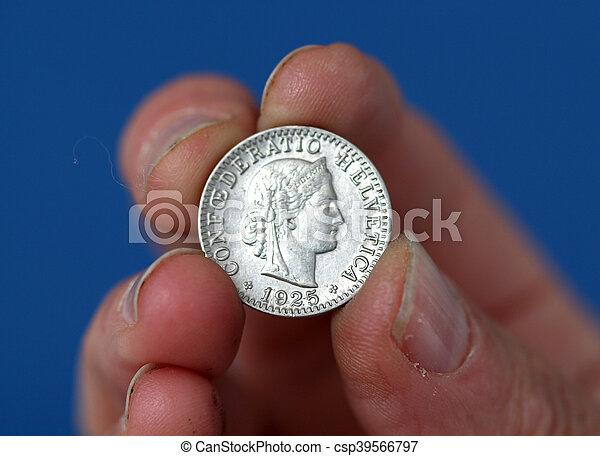 schweiz, hålla, mynt, gammal, fingrar - csp39566797