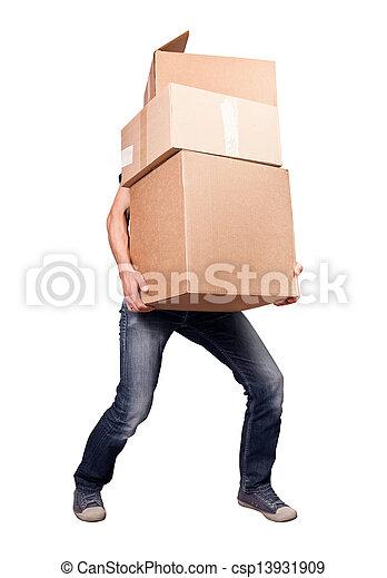 Ein Mann mit schweren Karten, isoliert auf weiß - csp13931909
