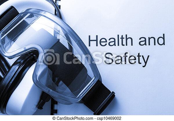Gesundheits- und Sicherheitsregister mit Schutzbrillen und Kopfhörern - csp10469002