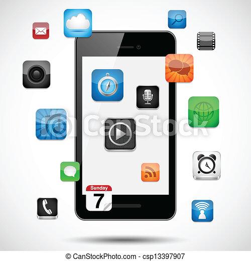 Smartphone mit schwimmenden Apps - csp13397907