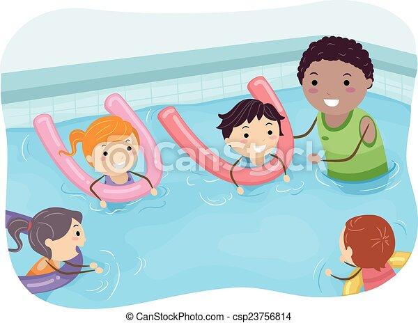 Schwimmenden trainer, stickman, kinder. Schwimmen, kinder ...