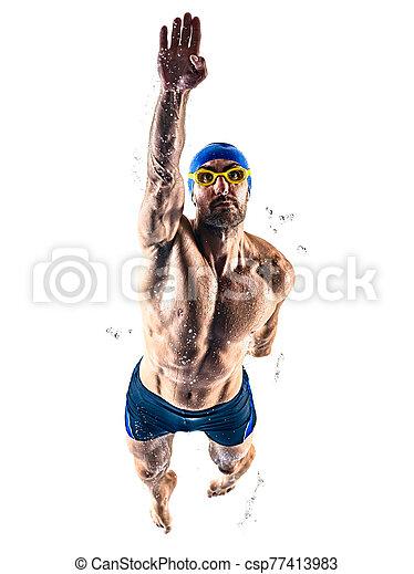 schwimmer, freigestellt, schwimmender, sport, hintergrund, mann, weißes - csp77413983
