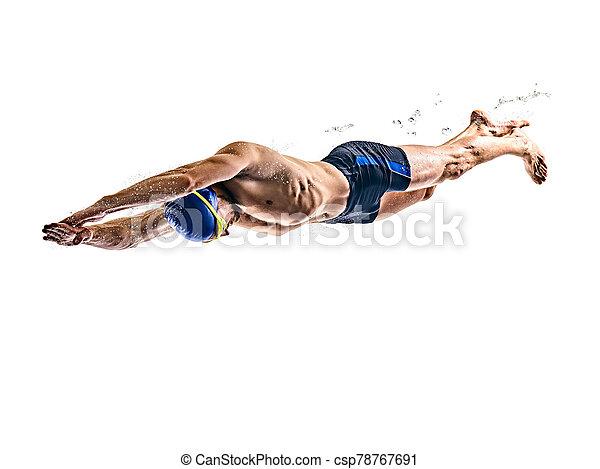 schwimmer, freigestellt, schwimmender, sport, hintergrund, mann, weißes - csp78767691