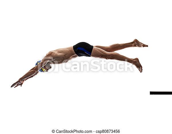 schwimmer, schwimmender, hintergrund, freigestellt, mann, weißes, sport - csp80873456