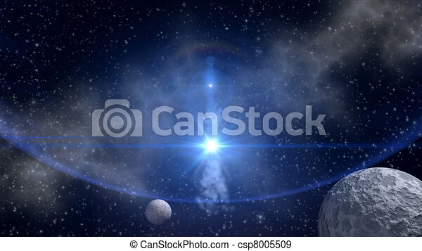 Sci-fi background with blue star  - csp8005509