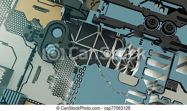 Sci Fi Industrial Background. Futuristic Concept Design - csp77063128