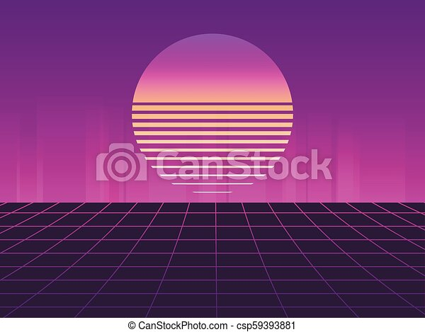 Sci-Fi neon sunset in the style of 80s  Synthwave retro futuristic  background  Retrowave  Vector illustration
