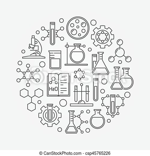 Science And Chemistry Line Symbol Vector Round Biotechnology