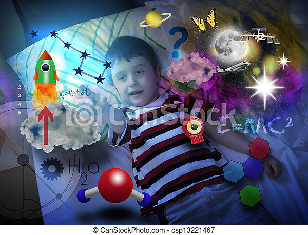 Science Boy Dreaming about Space Education - csp13221467