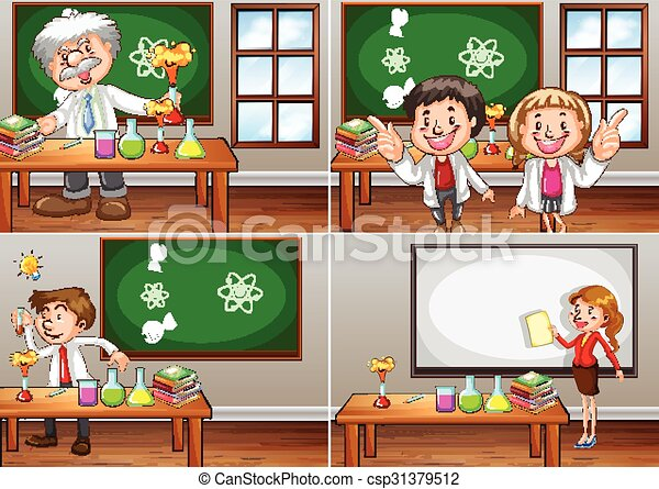 Science classrooms with teachers - csp31379512